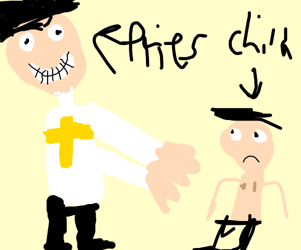 Priest alone in a room with a child