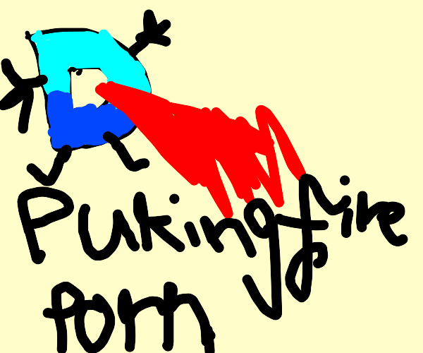 Drawception puking fire