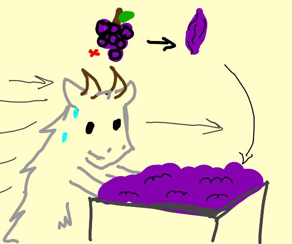 Goat pushing Raisins