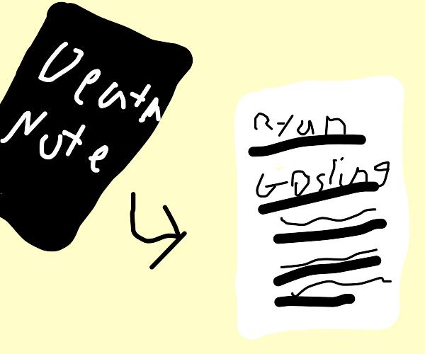 Ryan Gosling's name written in death note boo