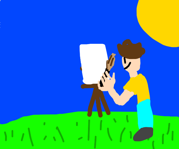 man painting in a field