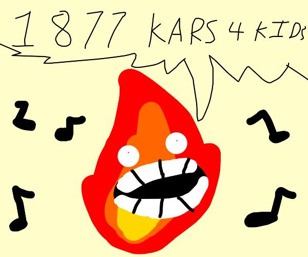 Fire guy sings