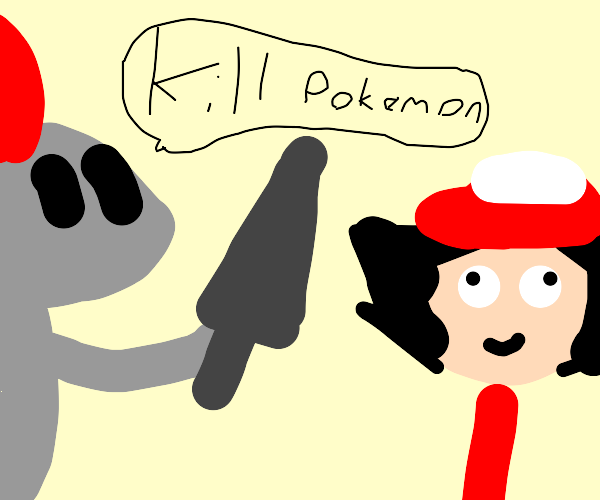 Knight giving ash a sword to kill pokemon