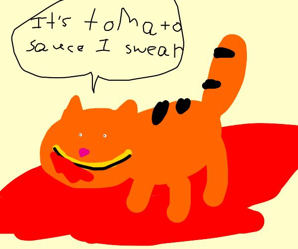Garfield playing in spaghetti sauce(I hope..)