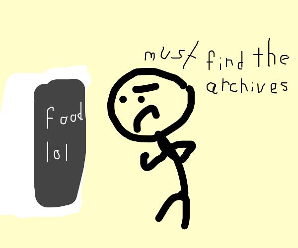 determined person investigates the fridge