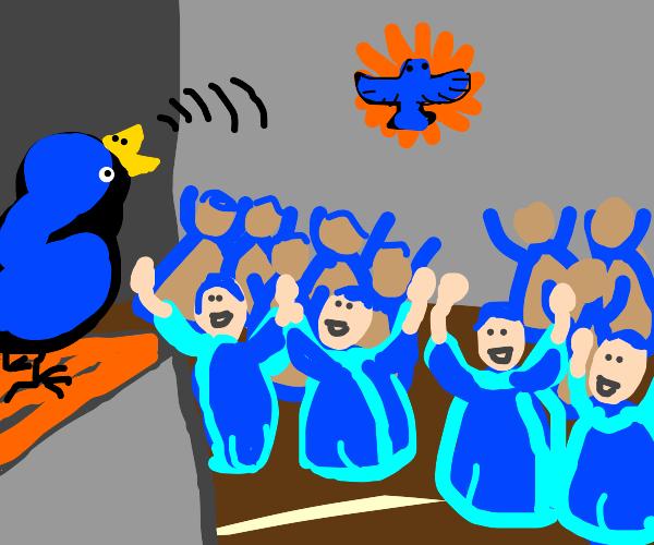 Bird our saviour preaches