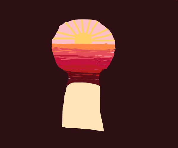 Sunrise through a keyhole