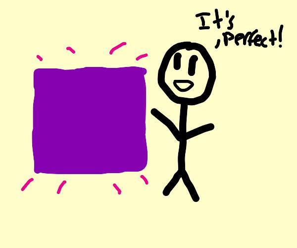 Stickman has found the perfect purple square!