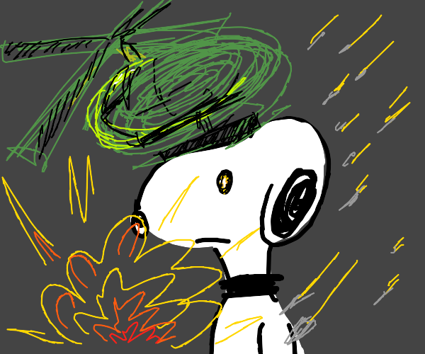 Snoopy gets fladhbacks of war
