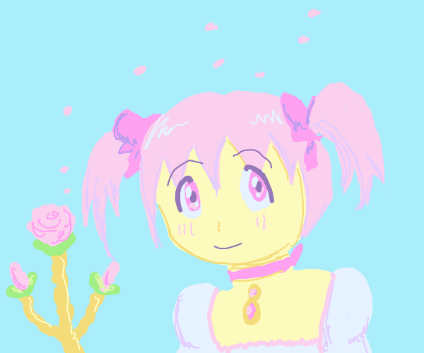 Cute anime girl with accessories and flowers