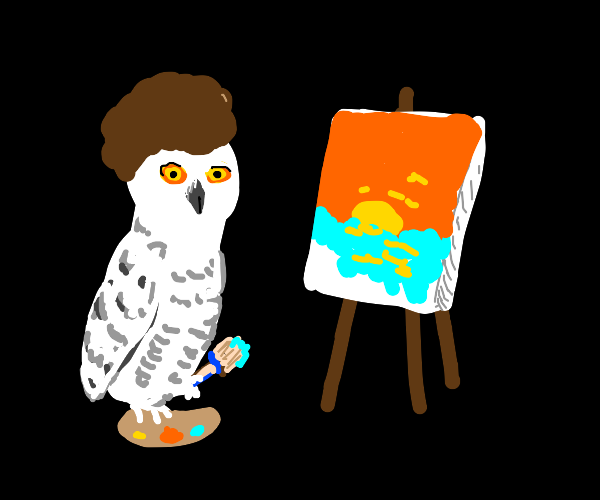 owl painting a sunset