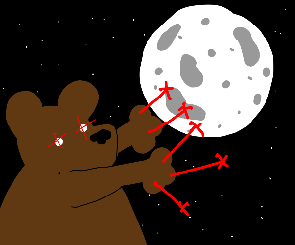 bear shooting the moon with lazer fingers