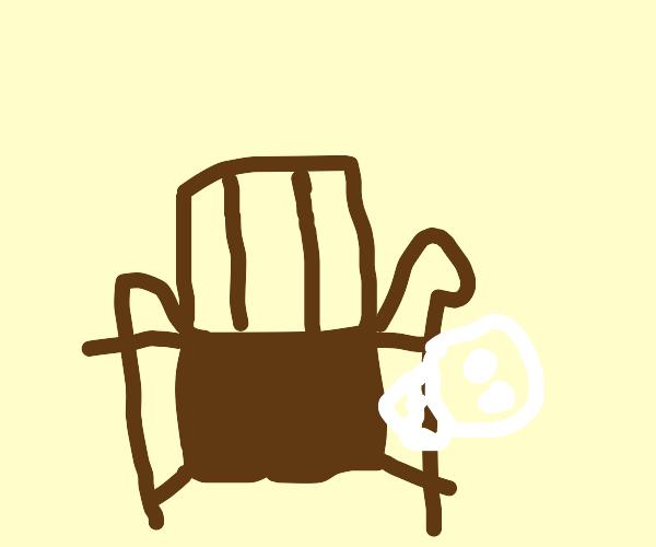 skull on armchair