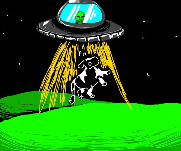 alien taking a cow