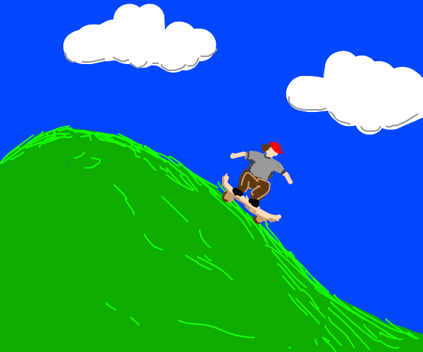 Kid skating down a hill