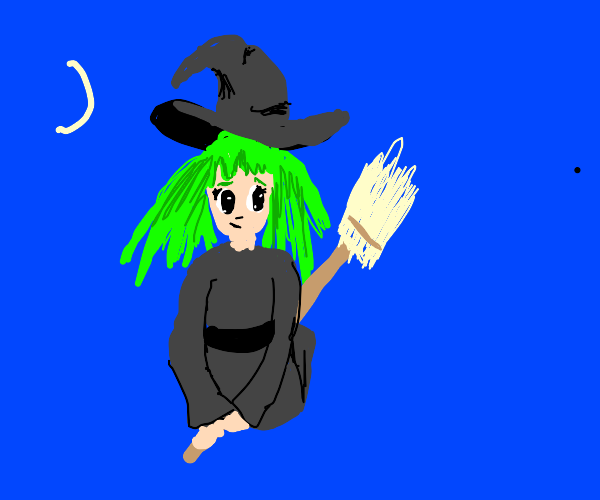green-haired witch anime girl