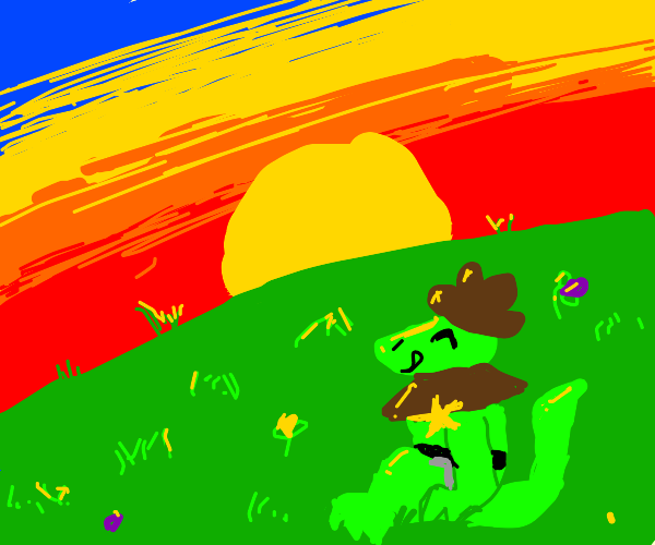 a lizard cowboy enjoying sunset