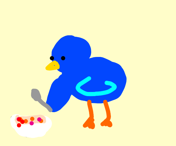 A bird eating a bowl of cereal