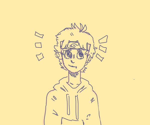 Awkward Guy Wearing a Naruto Headband