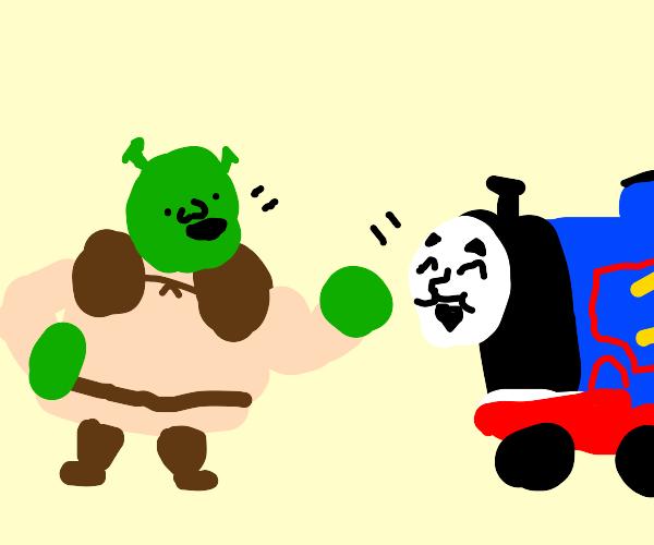 Shrek tells a fun joke to Thomas tank engine