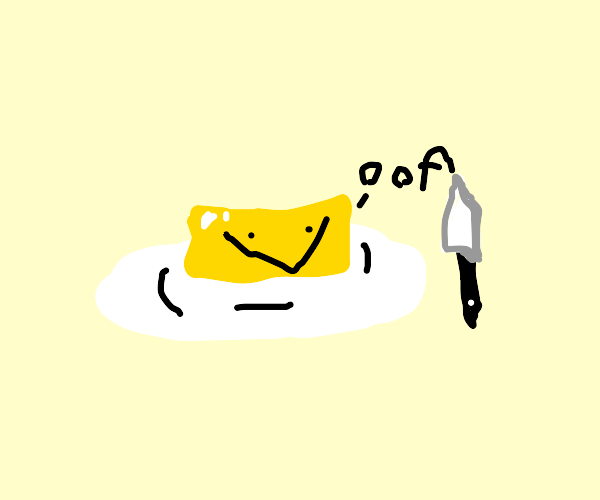 "Butter saying ""oof"" but smiling"