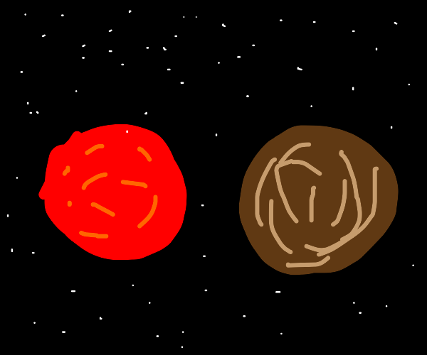 2 planets in space