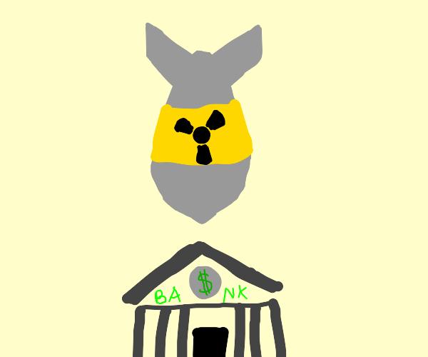 Atomic bomb drops on bank