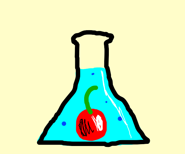 Cherry in blue solution in conical flask