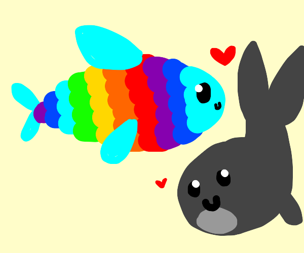 Rainbow Fish and Gray Whale Are in Love