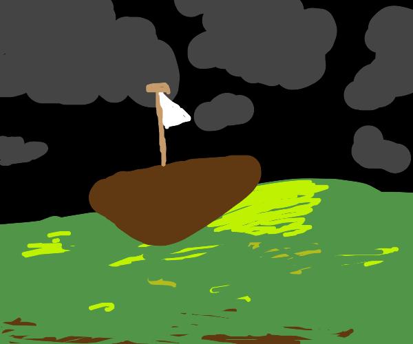 Sailing through a midnight storm