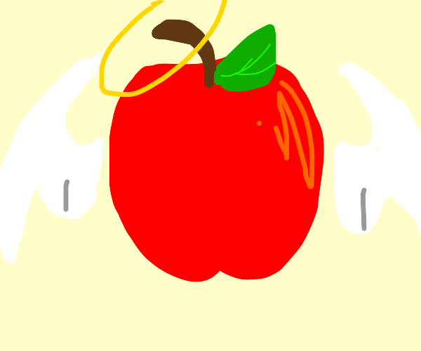 winged apple with halo