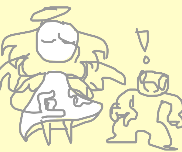 Time angel surprises man outside