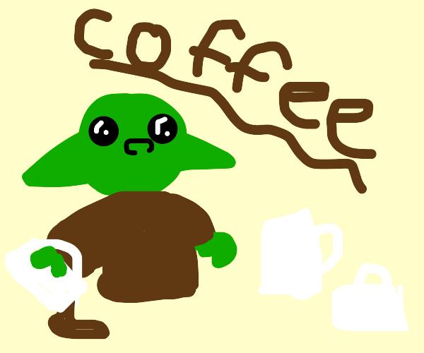 baby yoda doing hardcore cocoa