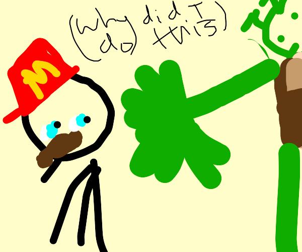 mario dodges slap from green hand