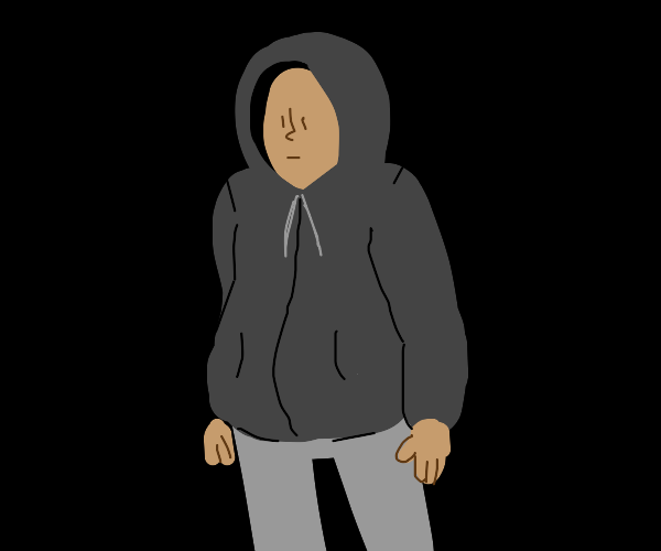 person in lt gray trousers and dk gray hoodie