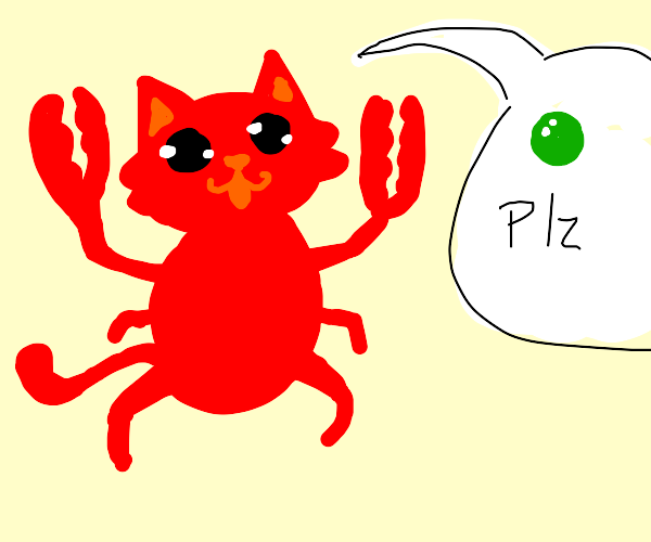 Crab Kitty asks for a pea.