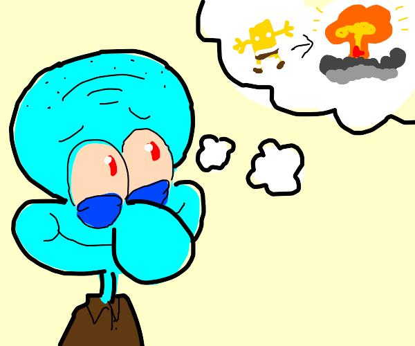 squidward daydreams of spongebob go boom