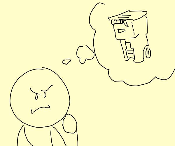 man ponders a rubbish bin