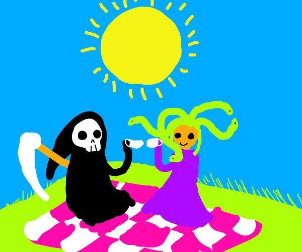 Medusa having picnic with Death (Grim Reaper)