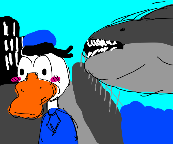 Donald Duck about to be eaten by shark