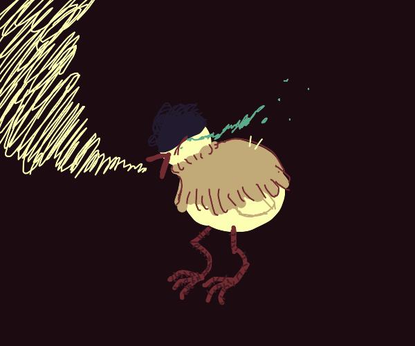 bird cries out