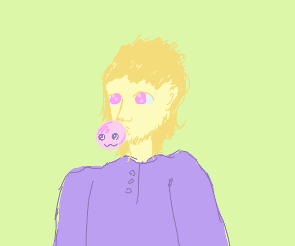 Man blowing kawaii bubble with gum