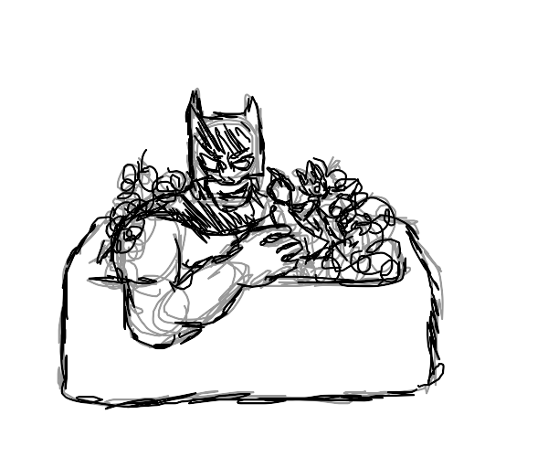 batman plays with toy superheroes in the bath