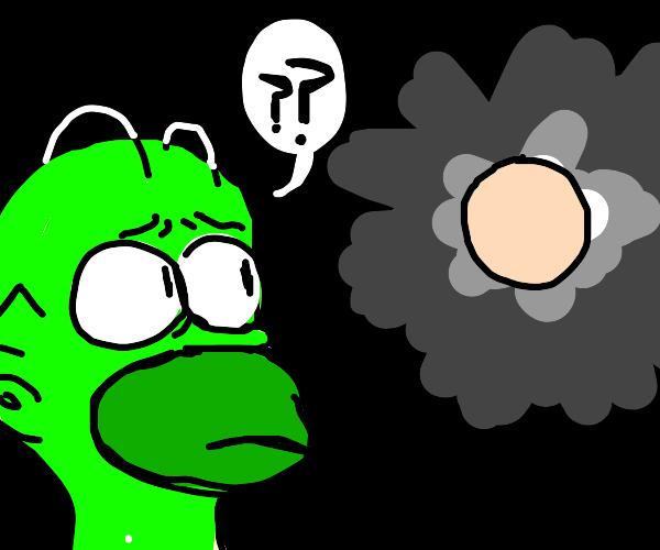 Green Homer questions tan colored circle