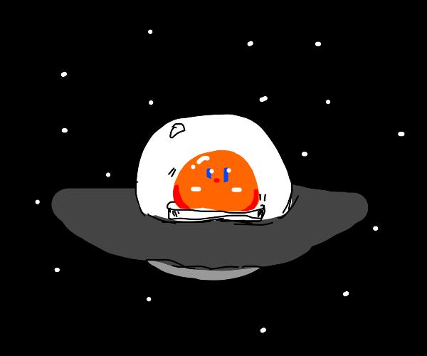 A cool orange blob in a UFO spaceship