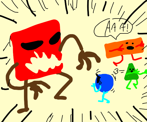 Angry square scares other shapes