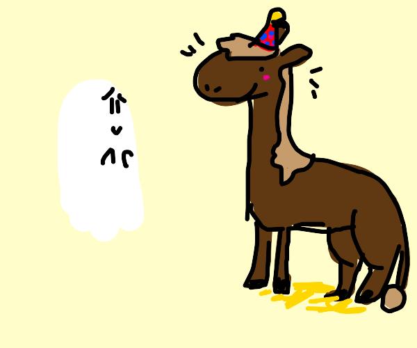 Ghost man admires happy birthday horse