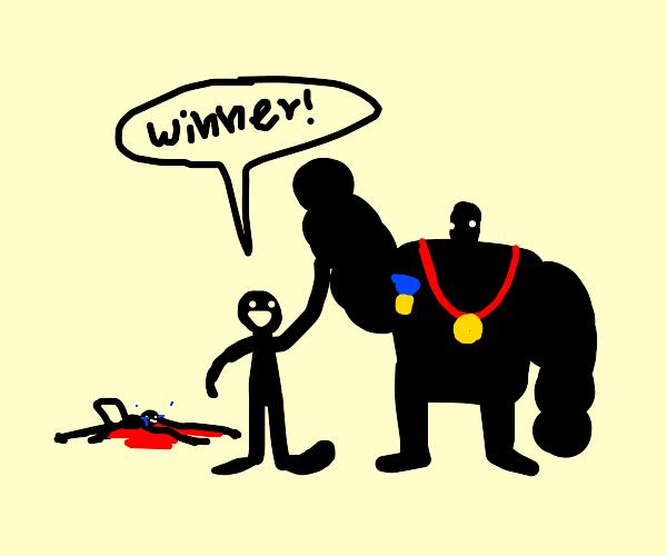 Big man wins