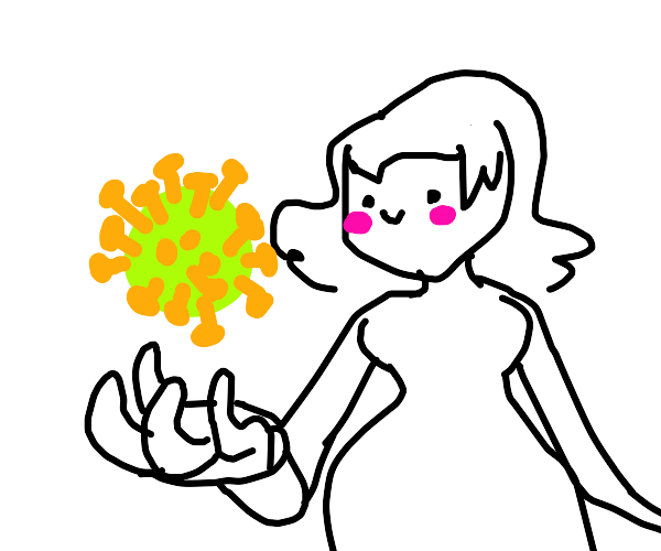 Girl holds a corona virus