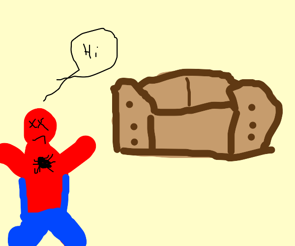 dead spiderman says hi to a couch